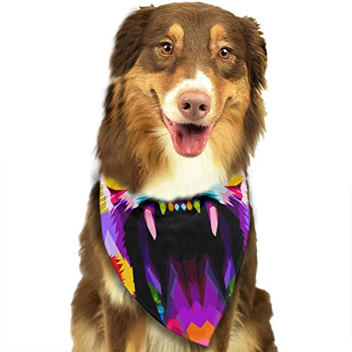 Pet Scarf Angry Colorful Lion On Pop Art Style Triangle Bibs Bandanas Kerchief Set Pets Costume Decoration for Small Medium Large Dogs Cats]()