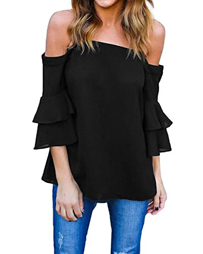 StyleDome Women Off Shoulder Blouse 3/4 Flared Ruffled Flounce Sleeve Shirts Elegant Tee Tops Black US 14 ()