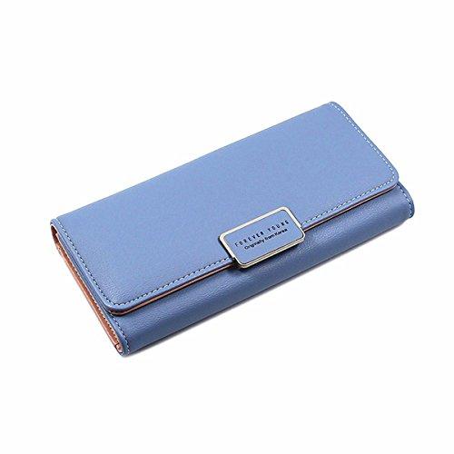 Women Clutch Wallet, Fashion Elegant Soft Leather Purse Multi Card Organizer Holder for Ladies (Blue)