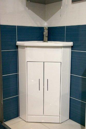 Blanco Compacto mueble de esquina muebles de baño fregadero armario ...