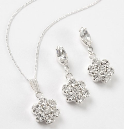 LJ Designs A Pretty Flower and Navette Pendant Set (S5064) -Swarovski Crystal