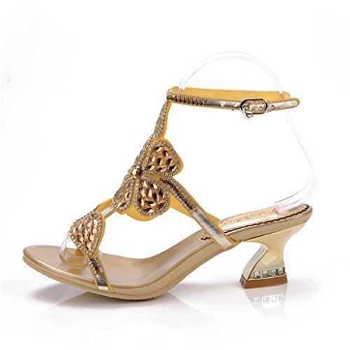 Doris Women's Evening Wedding Dress Shoes Glitter Rhinestone Floral Heels Sandals Summer Fashion Slippers Gold ZpJ4Hi8hoh