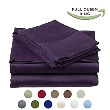 High Strength Natural Bamboo Fiber Yarns Egyptian Comfort 1800 Thread Count 4 Piece QUEEN Size Sheet Set, PURPLE Color