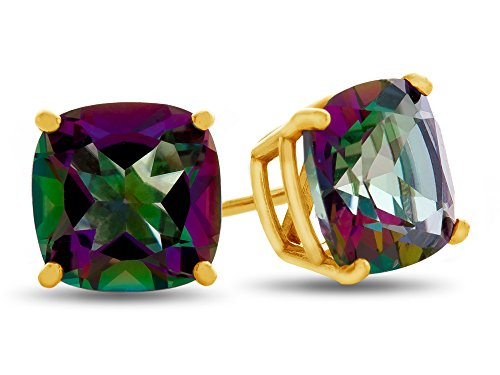 Finejewelers 7x7mm Cushion Mystic Topaz Post-With-Friction-Back Stud Earrings 14 kt Yellow -