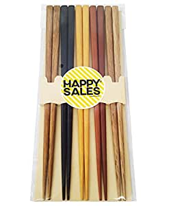 Happy Sales HSCH22/S, 5 Pairs Multi Color Design Japanese Bamboo Chopsticks Gift Set, Mnt