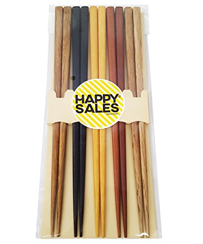 - Happy Sales HSCH22/S, 5 Pairs Multi Color Design Japanese Bamboo Chopsticks Gift Set, Mnt