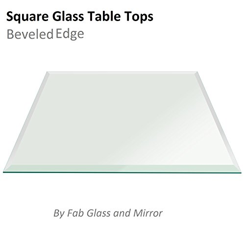 Fab Glass and Mirror Square Clear Glass Table Top 36'' Inch Tempered 1/2'' Thick Bevel Polish Radius Corners by Fab Glass and Mirror (Image #2)