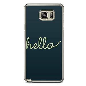 Samsung Note 5 Transparent Edge Phone Case hello Phone Case Girl Phone Case Fashion Phone Case Green