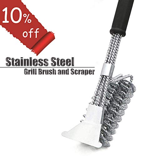 EOYIZW Grill Brush and Scraper, Bristle Free Barbecue Cleaner, 18 inch Stainless Steel BBQ Cleaning Brush with Triple Head Scrubber