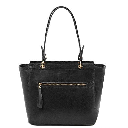 Tuscany Leather TL NeoClassic Bolso shopping en piel con dos asas Marrón topo oscuro Negro