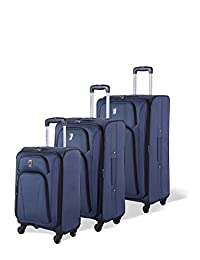 Atlantic Altitude Collection - 3 Piece Spinner Luggage Set, Navy, Checked – Large