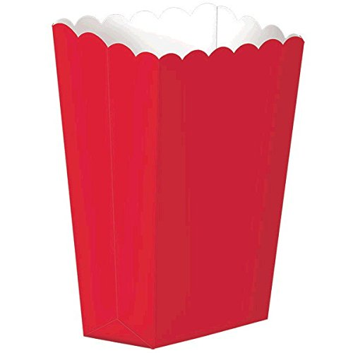 Scalloped Favor Boxes (Fun Party Small Popcorn Favour Boxes, Apple Red, Paper , 5