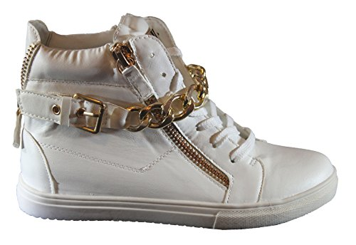 Kukubird Ladie's Womens Winter Autumn Wear Boots High High-Tops Shoes With Buckle & 3 Zips as Display White dyo5A