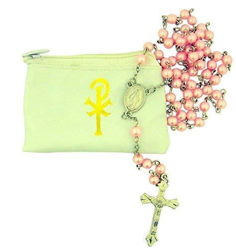(Catholic Women or Girls Pink Glass Bead Rosary with White Zipper Vinyl Case)