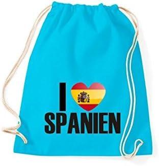 Shirtinstyle Gimnasio Saco Bolso para Deporte i Love España, Land, Países - Tuerkis, 46 cm x 36 cm: Amazon.es: Deportes y aire libre
