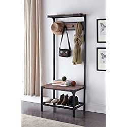 Reclaimed Oak Industrial Look Entryway Shoe Bench with Coat Rack Hall Tree Storage Organizer 8 Hooks in Black Metal Finish