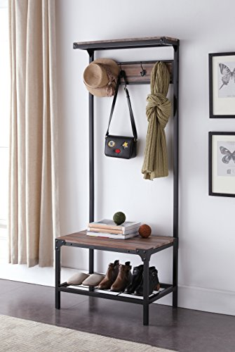 rial Look Entryway Shoe Bench with Coat Rack Hall Tree Storage Organizer 8 Hooks in Black Metal Finish (Oak Shoe Storage)