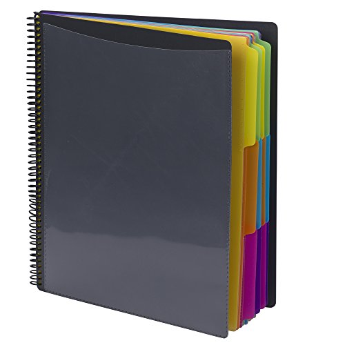 Smead 24 Pocket Poly Project Organizer, Letter Size, 1/3-Cut tab, Gray with Bright Colors (89206)]()