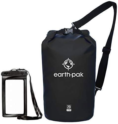 (Earth Pak -Waterproof Dry Bag - Roll Top Dry Compression Sack Keeps Gear Dry for Kayaking, Beach, Rafting, Boating, Hiking, Camping and Fishing with Waterproof Phone Case)