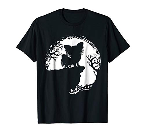 Moon Tree Pumpkin Mountain Incredible Tshirt Papillion Dog by T1Shop Happy Halloween Day Animals Lover T-shirt (Image #2)