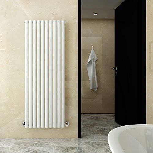 ELEGANT 1600 x 590 mm Vertical Column Designer Radiator Single Oval Panel White Central Heating Radiators
