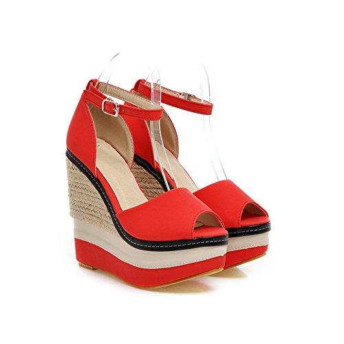 Rojo De Veraniego Estilo Mujer Boda Ultra con De De Tacón JUWOJIA Alta Plataforma Sandalias Sandalias Zapatos Mujer De De nUYwqCd5