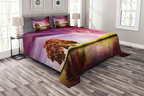 Lunarable Magical Bedspread Set Queen Size, Supernatural Sky Scenery with Mystical Northern Solar Theme and Star Clusters Photo, Decorative Quilted 3 Piece Coverlet Set with 2 Pillow Shams, Purple by Lunarable
