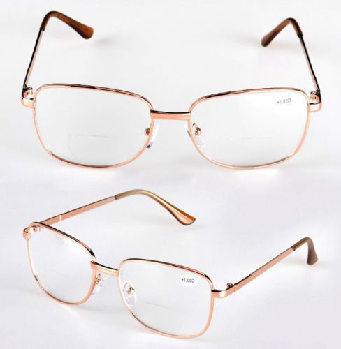 Gold Frame Clear Lens Reading Glasses Clear Reader Eyeglass Unisex Fashion Rimmed - Frames Eyeglass Eco
