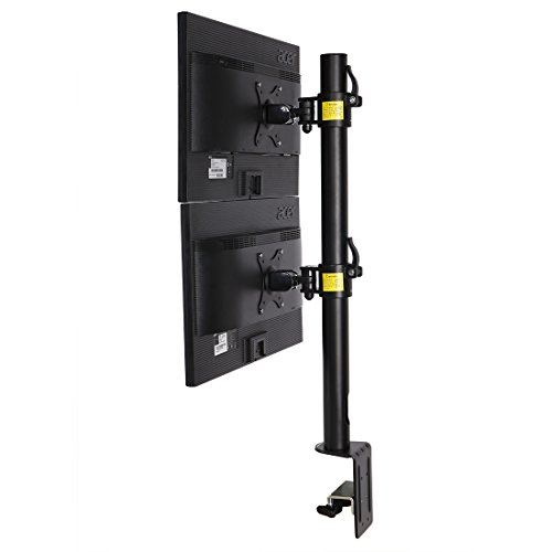 Fleximounts D1DV Full Motion Vertical Dual Desk Mounts Stand for 2 Screens up to 27