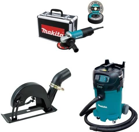 Makita 9557PBX1 4-1 2-Inch Angle Grinder w Case, Diamond Blade, 5 Grinding Wheels, Wheel Guards, 193794-5 Cutting Guard, VC4710 12 Gallon Xtract Vac Wet Dry Dust Extractor Vacuum