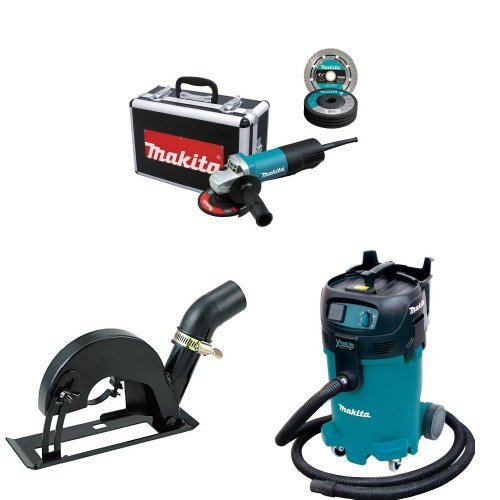 Makita 9557PBX1 4-1/2-Inch Angle Grinder w/Case, Diamond Blade, 5 Grinding Wheels, Wheel Guards, 193794-5 Cutting Guard, VC4710 12 Gallon Xtract Vac Wet/Dry Dust Extractor/Vacuum