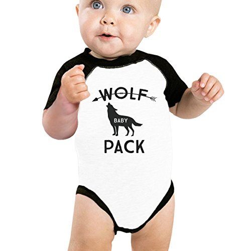 365 Printing Wolf Pack Baby Baseball Bodysuit Black Raglan Gift For New -