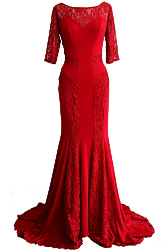 Evening Mermaid Women Dress Mother Formal of Gown Bride Burgunderrot MACloth Lace Sleeve Half g6wvw