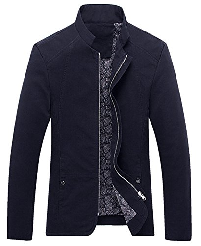 chouyatou Men's Vintage Banded Collar Zip-Front Lightweigth Cotton Casual Jacket (X-Large, Navy)