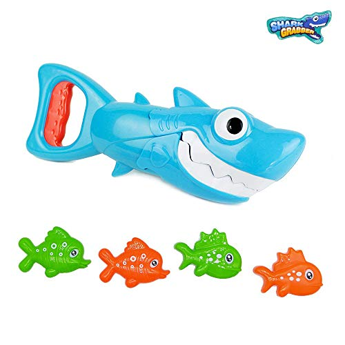 INvench Shark Grabber Baby Bath Toys - Blue Shark with Teeth Biting Action Include 4 Toy Fish Bath Toys for Boys Girls Toddlers