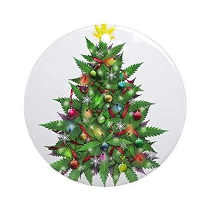 Christmas Tree Decorations 2018.Amazon Com Uniquepig Marijuana Christmas Tree Round