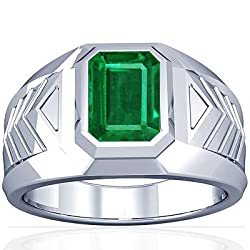 18K White Gold Emerald Men's Ring (GIA Certificate)