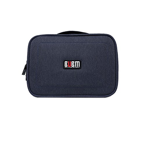 BUBM Travel Gadget Organizer, Portable Handy Double Layers Electronics Accessories Bag (Blue) for Storing iPad, Power Bank, Phone Charger, Charging Cable by BUBM
