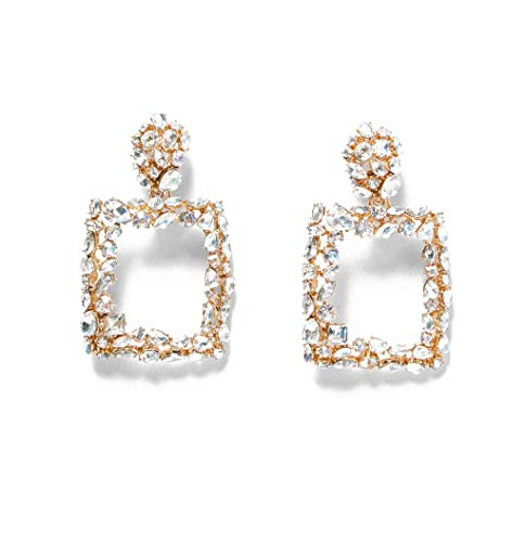 BEST LADY Statement Hoop Earrings - Women Geometric White Crystal Drop Earrings, Evening Dress with Jewelry for Party, Wedding and Prom (Square)