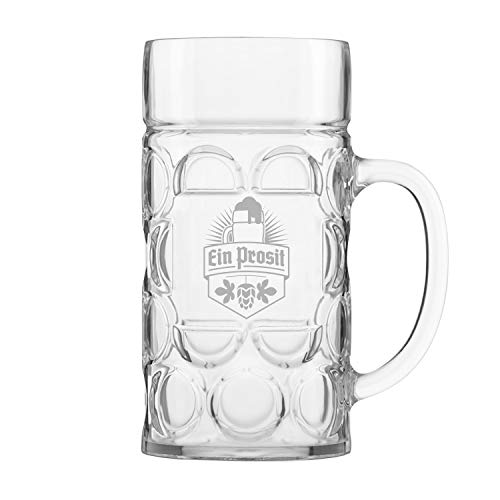 Unbreakable 1L Oktoberfest German Beer Mug with Handle (44 oz.) Classic Stein with Dimpled Finish- Vintage Party Brew Tankard- Thick, Durable Styrene- Made in USA by DU VINO (Image #1)