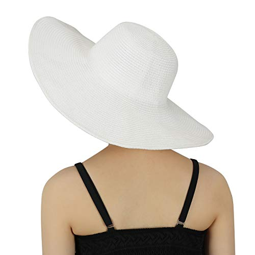 HDE White Sun Hat for Women White Straw Beach Hat White Derby Hats Cap 50+ UPF