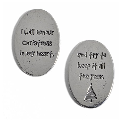 Crosby & Taylor Dickens I Will Honour Christmas Pewter Sentiment Coins, Set of 6 -
