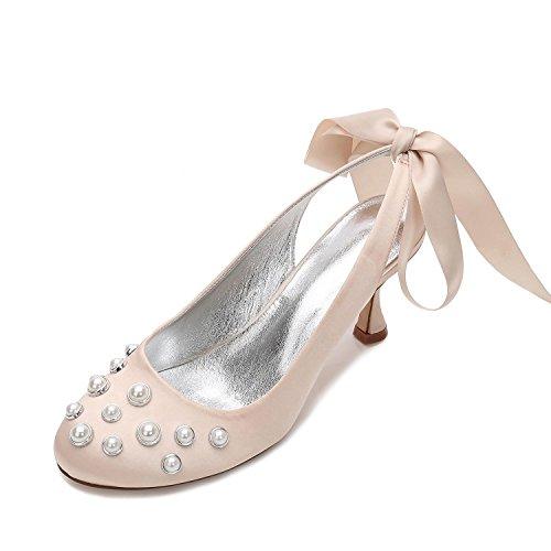 L@YC Women's Wedding Shoes E17061-20 Satin and Pearl High Heel Summer Bridal Shoes (Custom Made) Champagne xViTk