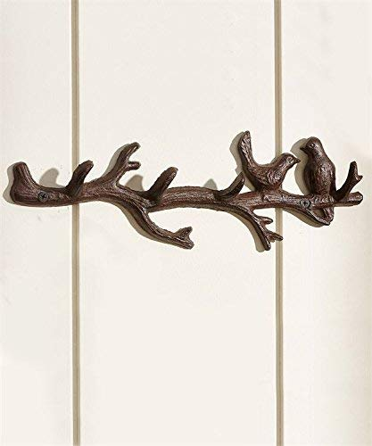 Rustic Heavy Duty Cast Iron Hook Wall Art Décor Hanging Towel Key Coat Rack Durable Iron Hanger Living Room Bathroom Room Kitchen Wall Decoration(Birds on Tree Branch)