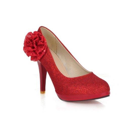 Nouveau Mode Fleurs Fleurs Talons Hauts Chaussures De Mariée Rouge