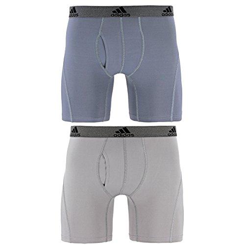 adidas Men's Relaxed Performance Climalite Boxer Brief Underwear , Onyx/Light Onyx, Medium