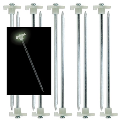 SE 910NRC10 Metal Tent Peg with Glow-In-The-Dark Stopper (10 Pack), 10-1/2', Green