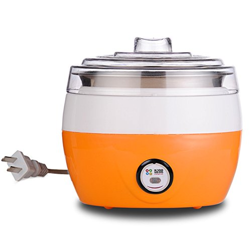 220V Plastic + stainless steel Electronic Yogurt Maker with Automatic Cooling Safe Glass Jars and Lids(1L) (Orange)