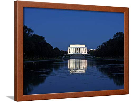 ArtEdge Lincoln Memorial Reflection in Pool, Washinton D.C, USA by Stocktrek Images, Wall Art Framed Print, 18x24, Brown Unmatted