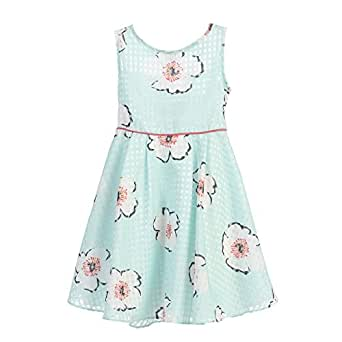 Angels Garment Little Girls Organza Checkered Floral Print Easter Spring Dress 3T